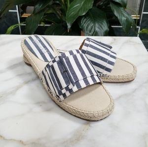 Splendid Espadrille Chambray Stripe Slide Sandals
